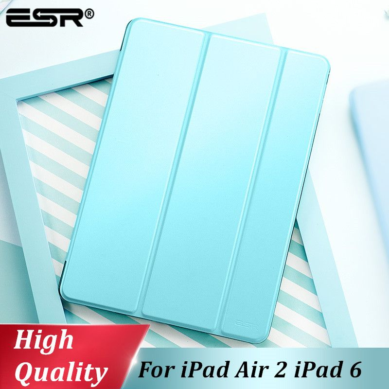 ESR Cover for iPad Air 2 Case Synthetic Leather Translucent Frosted Back Magnetic Smart Cover+Auto Sleep/Wake A1566 A1567 Model