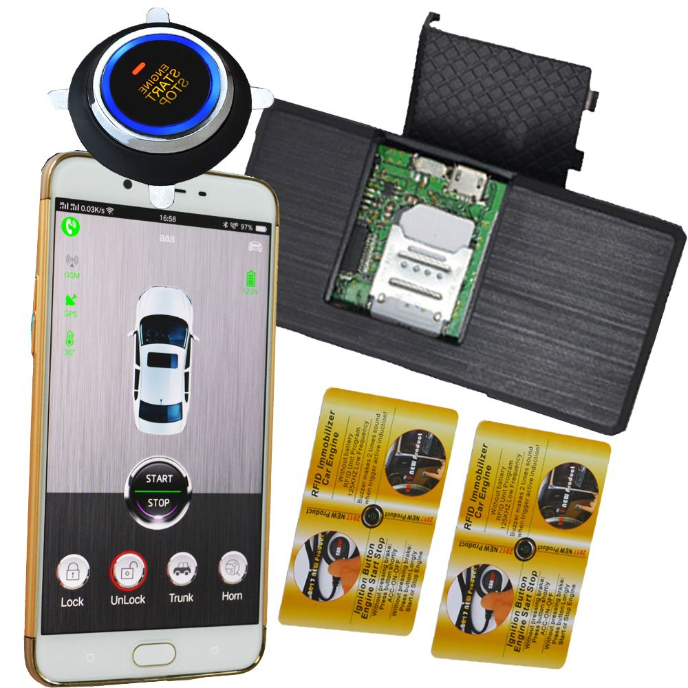 car invisible alarm system with remote start stop function by original car key remote mobile app online gps tracking discount