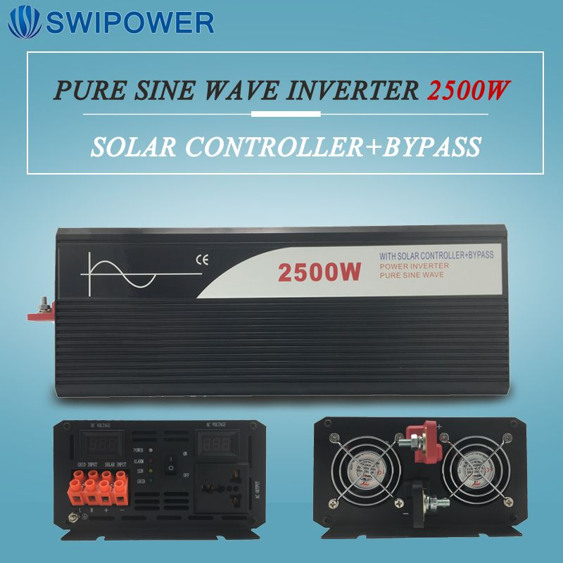 pure sine wave solar power inverter 2500w 12V/24V DC to AC 120V/220V with solar controller with bypass