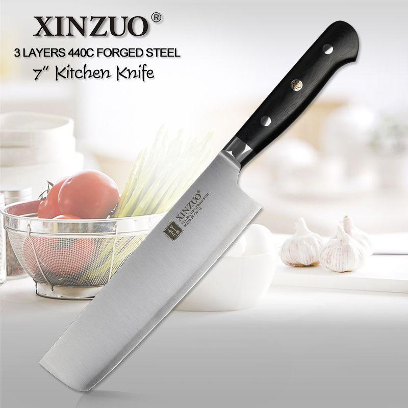 XINZUO 7 inch schinkenmesser 3 Schicht 440C Core Verkleidet Stahl Küchenmesser Nakiri messer Edelstahl Cultery Cutter G10 griff