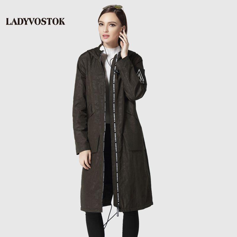 LADYVOSTOK military green headset woman's coat casual windbreaker fashion female casual long hat 17-096