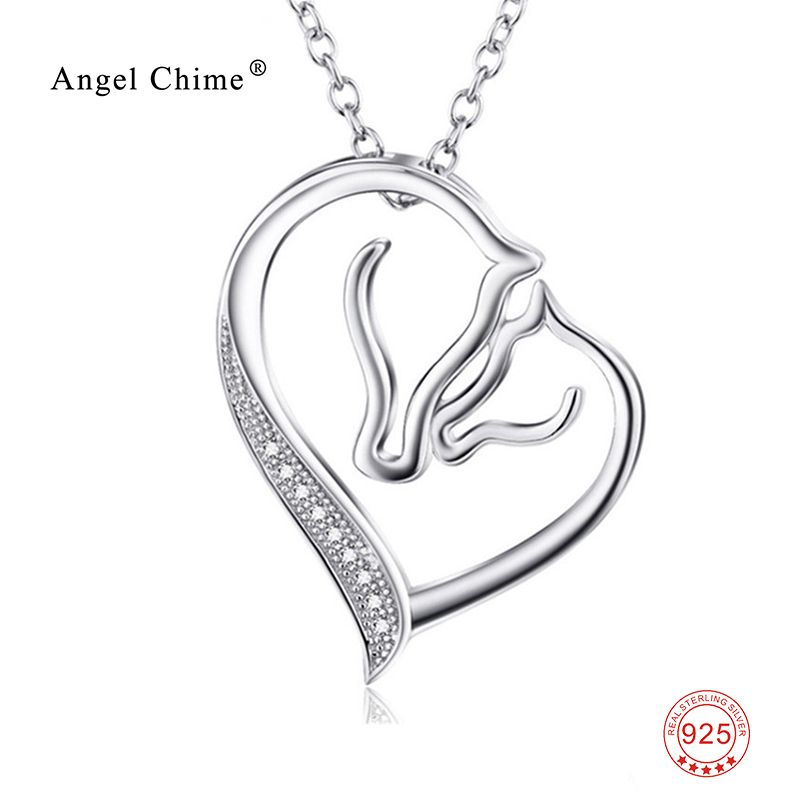 Women Fashion CZ Crystal <font><b>Heart</b></font> Horse Pendant Collar Necklace 925 Sterling Silver Collier Statement Necklace Kolye bijoux coeur