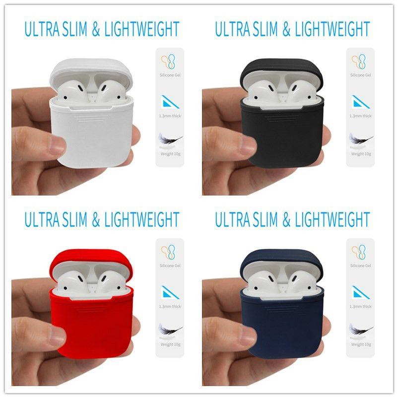 Pour Apple Airpods Silicone Housse De Protection Pochette Anti-Perte Protecteur étui Funda Coque pour cosses d'air Accessoires etui