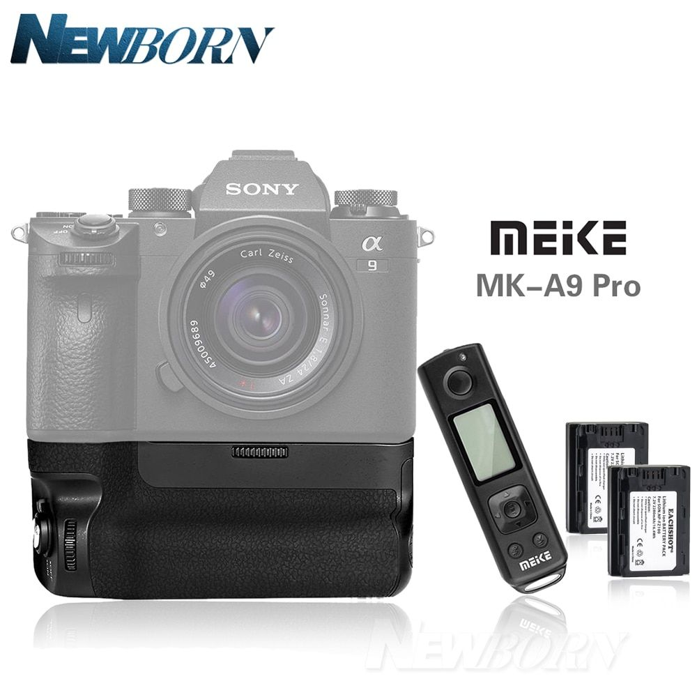 Meike MK-A9 Pro Battery Handle Hand Grip Vertical as VGC3EM For Sony Alpha A9 A7R III A7RIII + 2.4GHz Remote Control+2x NP-FZ100