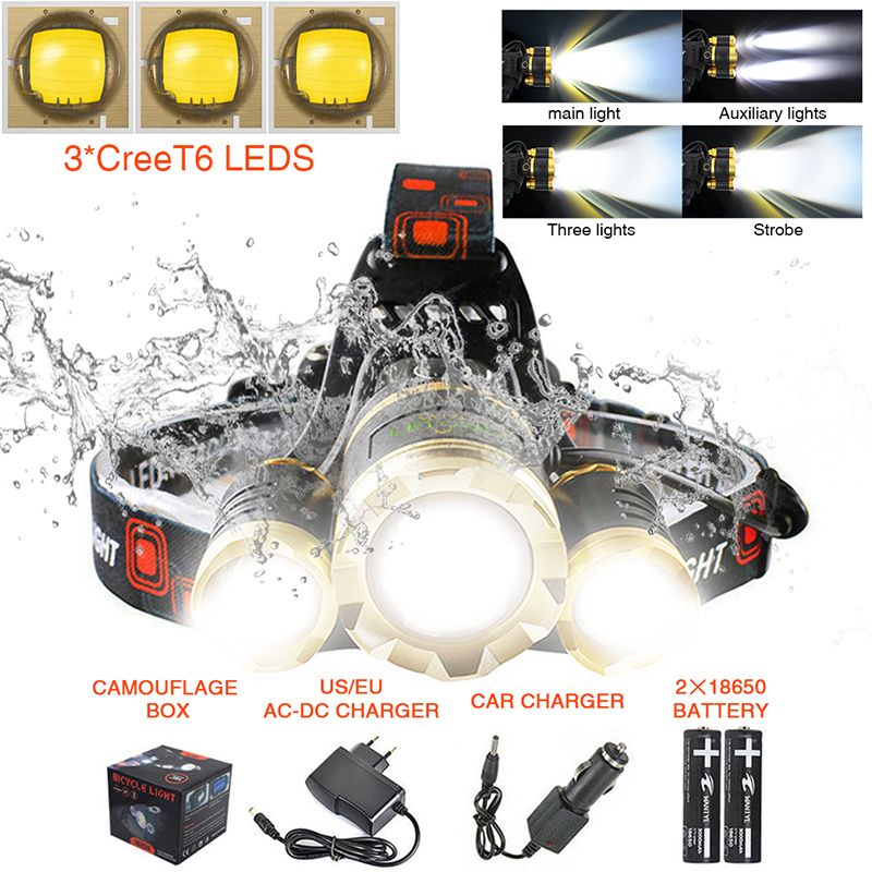 Headlamp Cree T6 Flashlight Forehead 10000Lumens Zoom Focus 4 Lighting Modes Rechargeable Camping Head Torch with Battery 18650