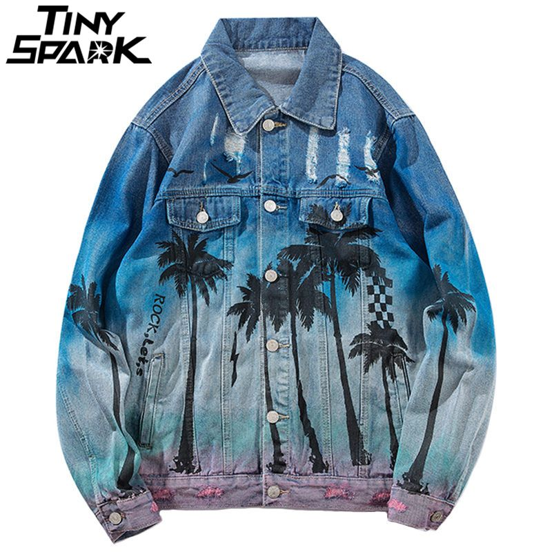 Vintage Denim Bomber Jacket Ripped Holes Sea Beach Coconut Tree Men Hip Hop Jeans Jacket Streetwear 2018 Distressed Denim Jacket