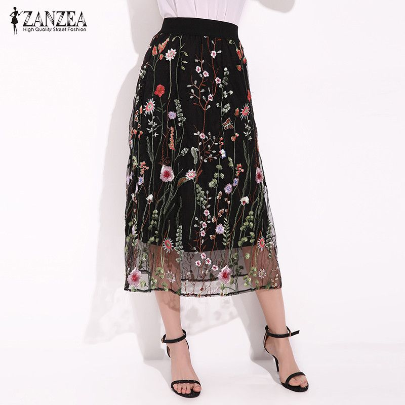 ZANZEA Women Fashion Summer Bohemian Midi Skirt Elegant Black Floral Embroidered Mesh Overlay A Line Ladies Vintage Long Skirts