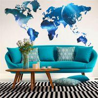 Más nuevo mapa del mundo de la manera espacio estilo decalques de pared para niños aula librería carteles pared arte PVC decoración DIY pegatinas