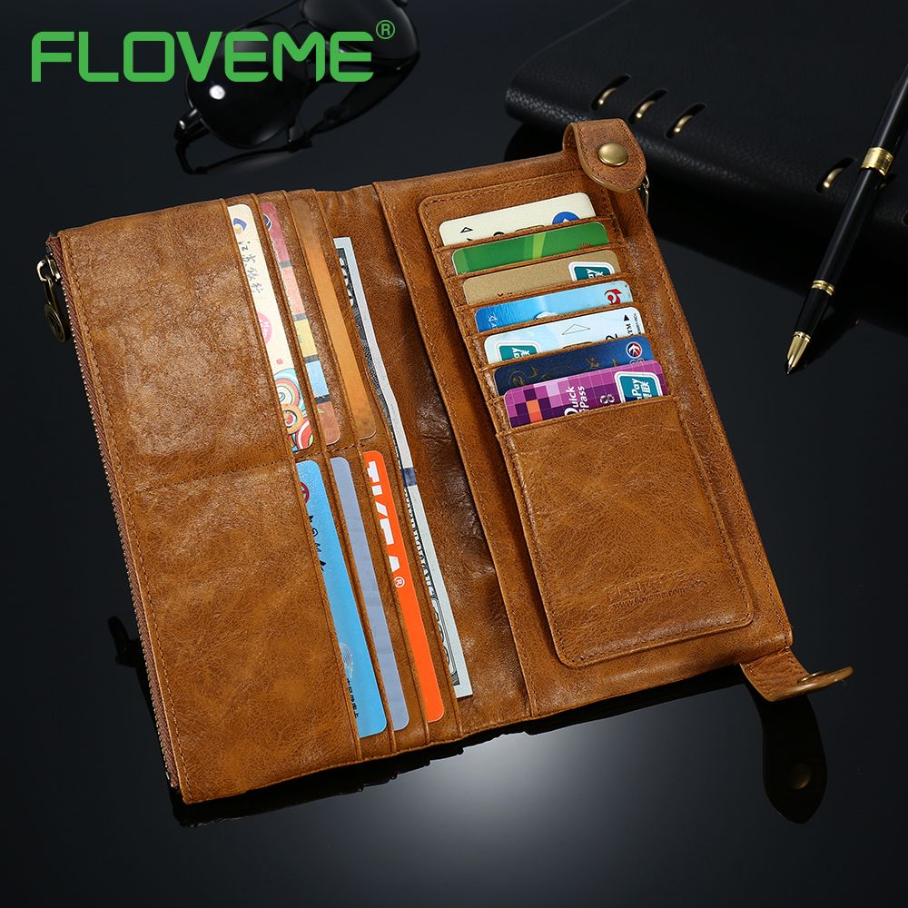 FLOVEME Phone Bag Case For iPhone 7 6 6S Plus 5 Luxury Genuine Leather Card Wallet Holder Phone Case For iPhone 8 Phone Pouch