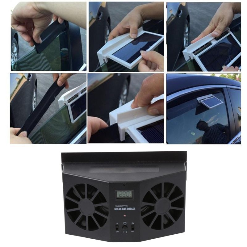 2017 Solar Power Car Window Windshield Auto Air Vent Cooling Exhaust Dual Folding Fan System Cooler car styling