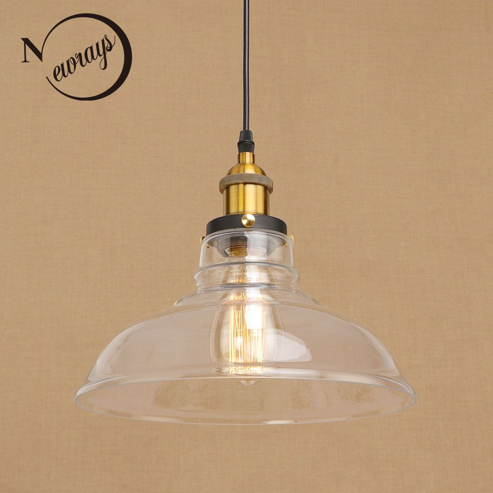 Vintage loft hanging Glass lampshade Pendant Lamps modern Fixtures e27/e26 pendant Lights for living room Restaurant Cafe Bar