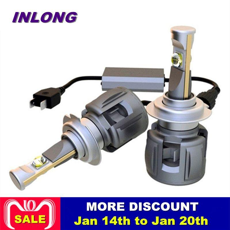 Inlong 2Pcs X70 H4 H7 Car LED Headlight Bulbs H11 9005 9006 H8 H9 D1S D2S D3S D4S HP Lens Chip 7800LM Headlamp Fog Lights 6000K