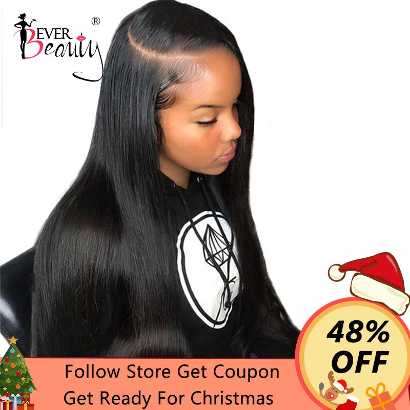 360 Lace Frontal Wig Pre Plucked With Baby Hair Brazilian Silky Straight Lace Front <font><b>Human</b></font> Hair Wigs 150% Density EverBeauty Remy
