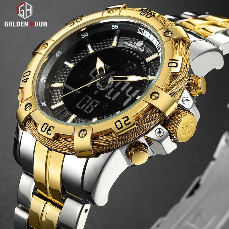 GOLDENHOUR Herren Digital Analog Uhr Luxus Mode Sport Wasserdicht Zwei Ton Edelstahl Männliche Uhr Uhr Relogio Masculino
