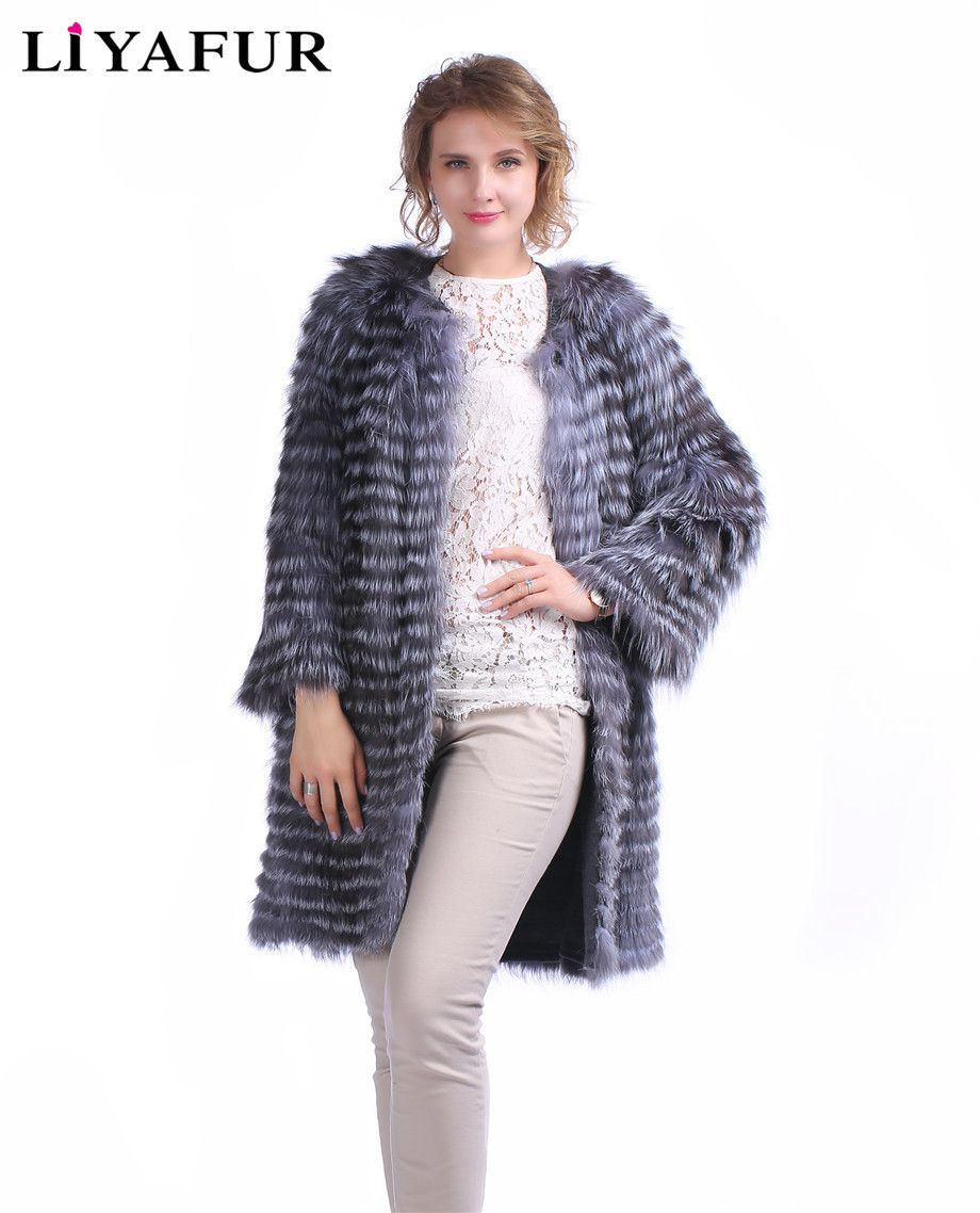LIYAFUR 2017 New Style Real Genuine Silver Fox Fur Coat Outerwear Jacket Cardigan Lining Winter Autumn Striped Style Overcoat