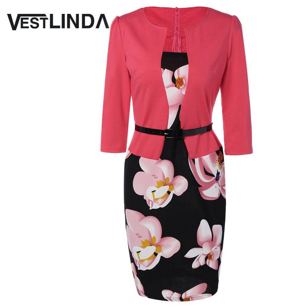 VESTLINDA Pencil Office Dress 5 Colors Plus Size Jacket Look Floral Print Women Vestidos <font><b>Mujer</b></font> Jurken Robe Slim Bodycon Dresses