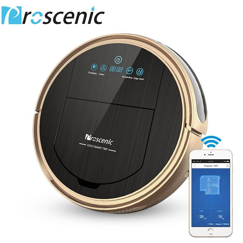 Robot Vacuum <font><b>Cleaner</b></font> Proscenic 790T 1200Pa Power Suction Vacuum <font><b>Cleaner</b></font> with Wifi Connected Remote Control Aspirador