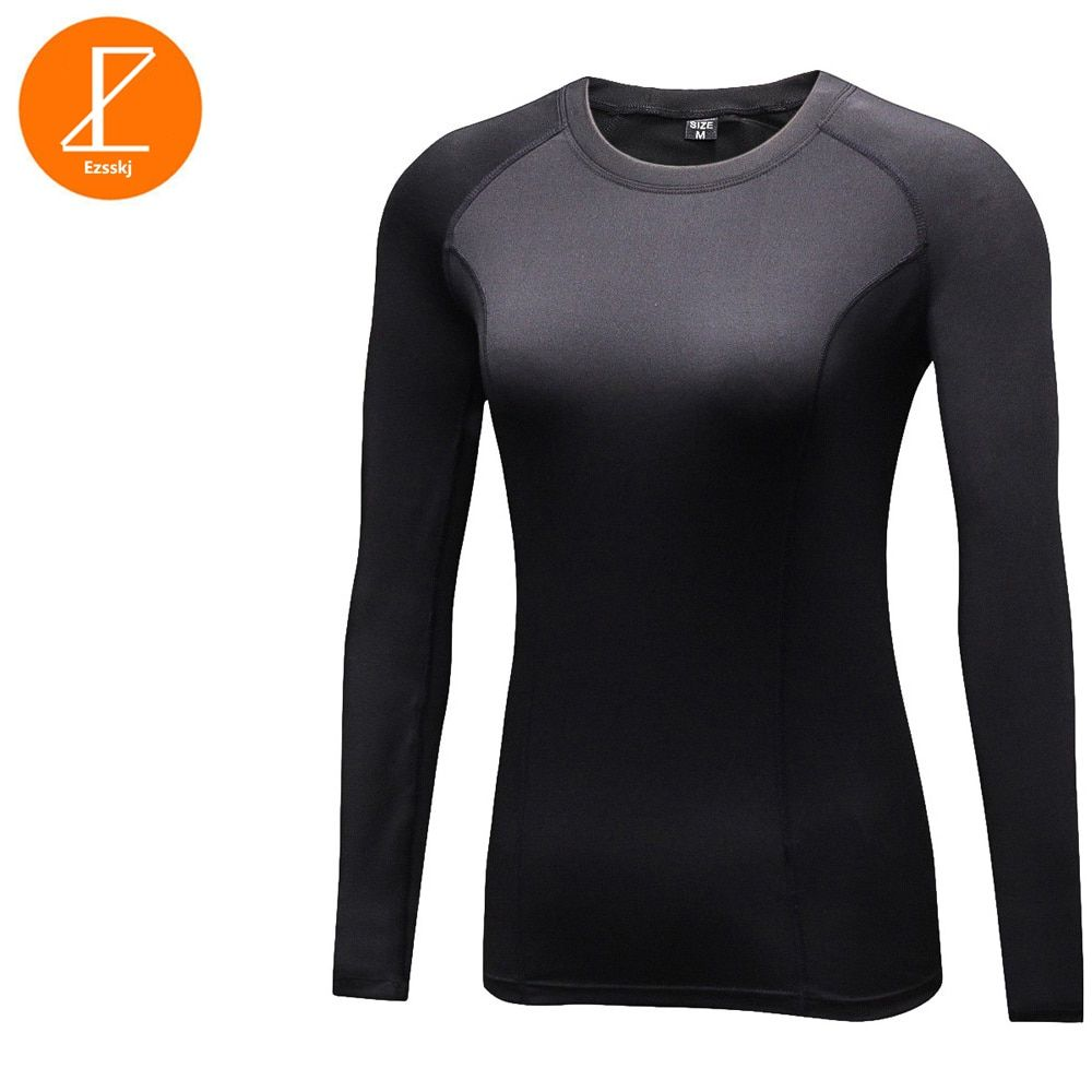 Ezsskj Winter Sports Warm Tights Yaga T Shirt Stretch Thermal Running Shirts Women Long Sleeve Compression Base Layer Tops Black
