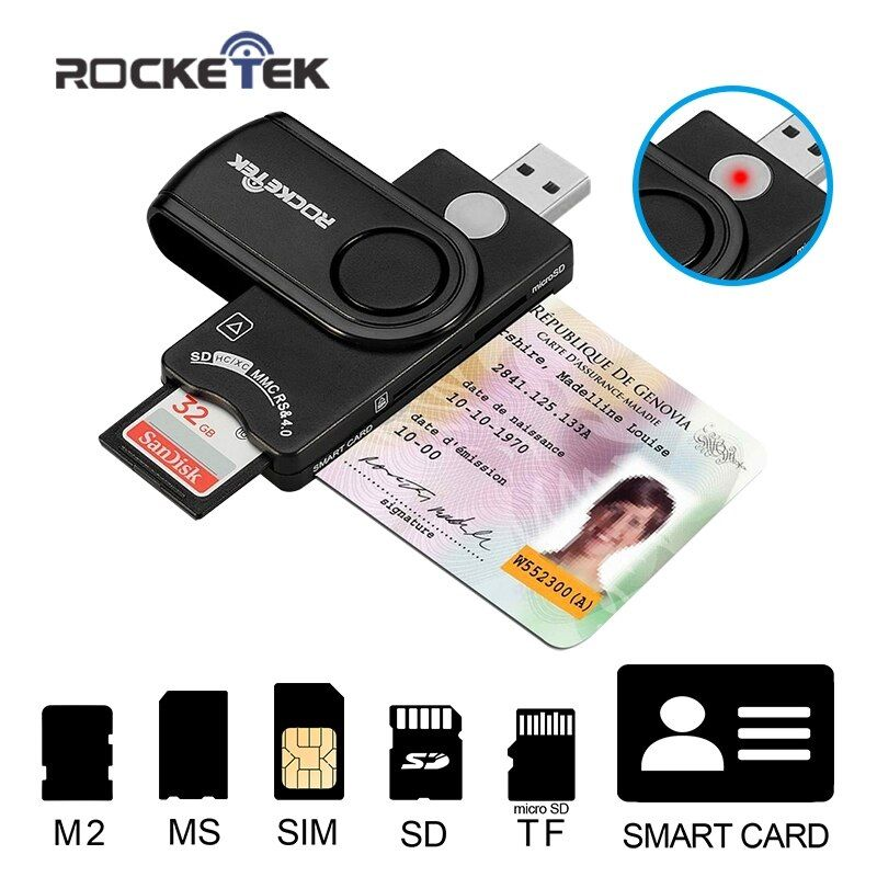 Rocketek USB 2.0 multi Smart Card Reader SD/TF MS M2 micro SD memory ,ID,Bank card,sim cloner connector adapter computer pc
