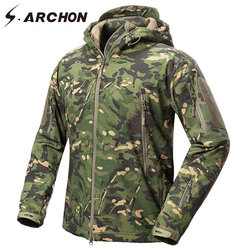 S. ARCHON Nouveau Soft Shell Camouflage Militaire Vestes Hommes À Capuchon Étanche Tactique Polaire Veste D'hiver Chaud Armée Survêtement Manteau