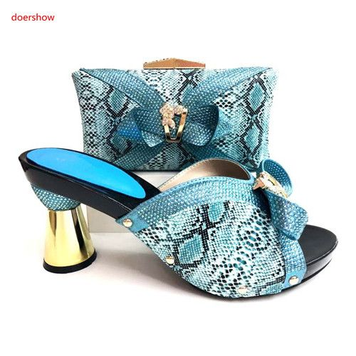 doershow high quality fashion style gold Italian matching shoe and bag set african wedding shoe and bag sets for lady GX-17