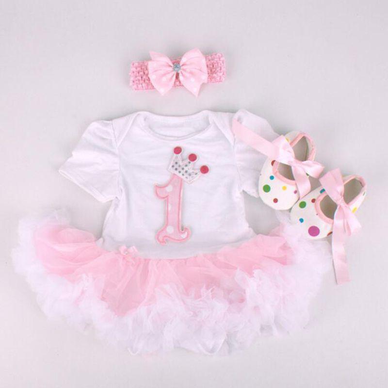 Nouveau bébé fille vêtements ensembles infantile lapin dentelle Tutu barboteuse robe/Jumpersuit + bandeau + chaussures 3 pièces ensemble Bebe premier anniversaire Costumes