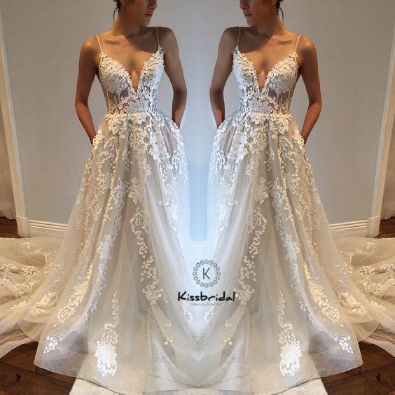 Sexy Backless Wedding Dreses Spaghetti Strap Deep V-neck Lace Tulle Beach Wedding Dress vestido branco