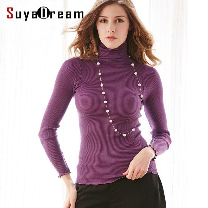 90%Natural Silk 10%Cotton Women pullovers Turtleneck rib knit shirt long sleeve Solid sweater Basic top 2016 Fall Winter
