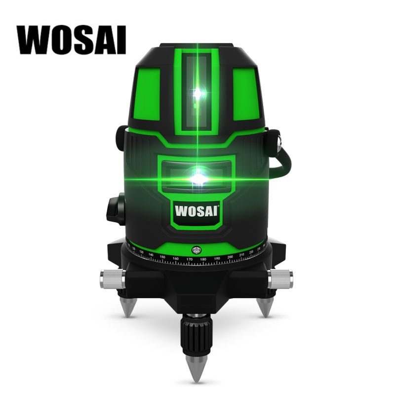 WOSAI Green Laser Level 5 Lines 6 Points 360 Degrees Rotary Outdoor 635nm Corss Line Lazer Level Points Level Tilt Function