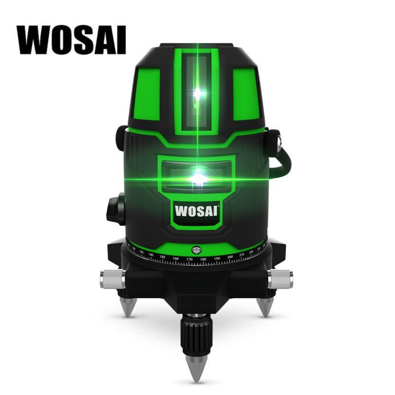 WOSAI Vert Laser Niveau 5 Lignes 6 Points Laser Niveau Automatique Auto Nivellement 360 Vertical et Inclinaison Horizontale et 532nm le Mode en plein air