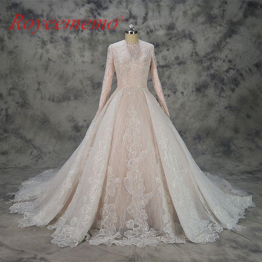 Heißer verkauf spezielle spitze design Muslimischen Hochzeit Kleid nude satin alles abgedeckt brautkleid lange sleeves brautkleid fabrik direkt