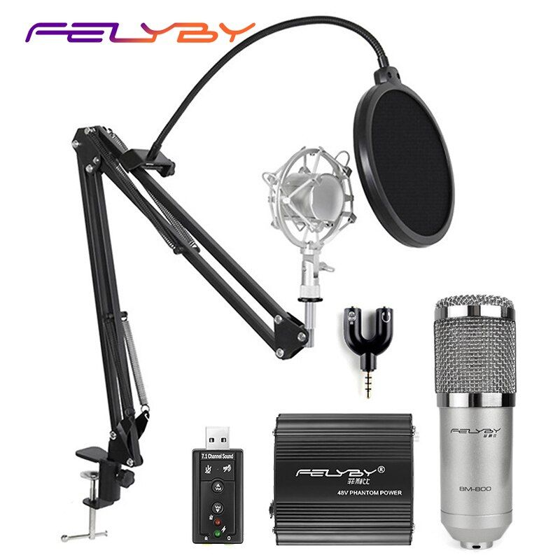 FELYBY professional bm 800 condenser microphone for <font><b>computer</b></font> audio karaoke mikrofon studio recording 3.5mm microphones sets