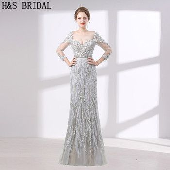 H&S BRIDAL luxury evening dress Three Quarter Sleeve Crystal Beading evening dresses with stones long evening gowns vestido