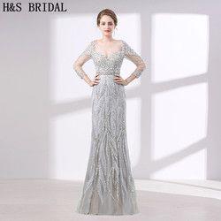 H & S PENGANTIN gaun malam mewah Tiga Perempat Lengan Kristal Manik-manik evening dresses dengan stones panjang evening gowns vestido