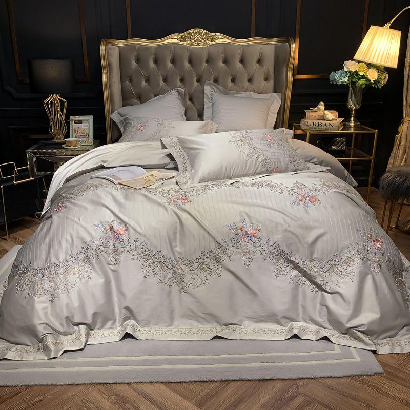 Lila Blau 600TC Weiche Ägyptischer Baumwolle Luxus Europäischen Stil Stickerei Bettbezug-set Kissen Fällen Flache/Ausgestattet Bettlaken
