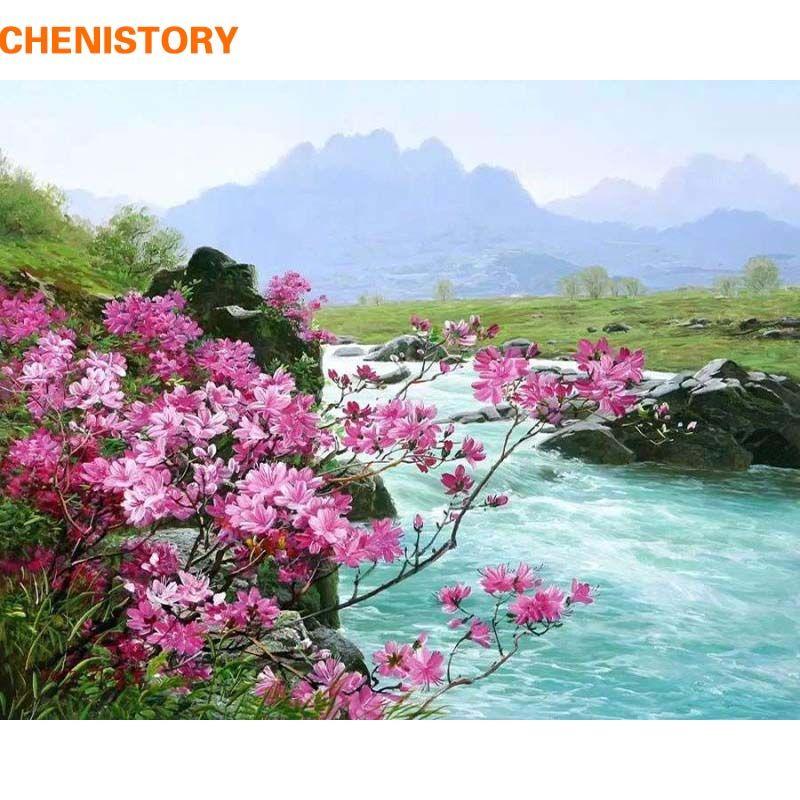 CHENISTORY romantique rivière paysage peinture à la main par numéros Kits peinture acrylique sur toile peint à la main décoration murale Art photo