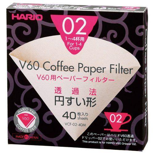 FeiC Hario 02 filtres à papier naturel café 40 unités sans agent de blanchiment pour 4 tasses pour Barista VCF-02-40M
