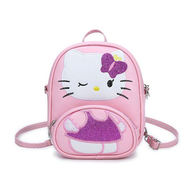 Hot Sale Children Mini Messenger Bag Fashion Cartoon Kitty Girls Party Handbags Kids Pu Leather Crossbody Shoulder Bag Handbags