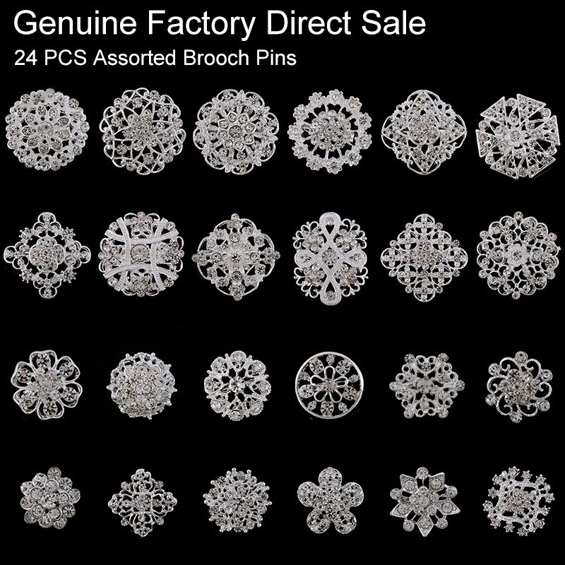 24 pieces Mixed Wholesale Crystal Rhinestones Flower Brooches for Wedding Invitation Cake Decoration Bouquet Kit Brooch Pins