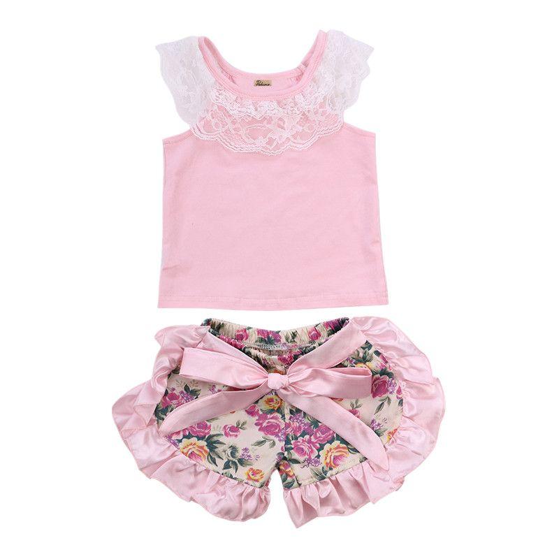Nouveau-né Enfant En Bas Âge Infantile Bébé Fille Dentelle Top T shirt Ruches Floral Shorts Pantalon Casual Tenues Set 0-24 M