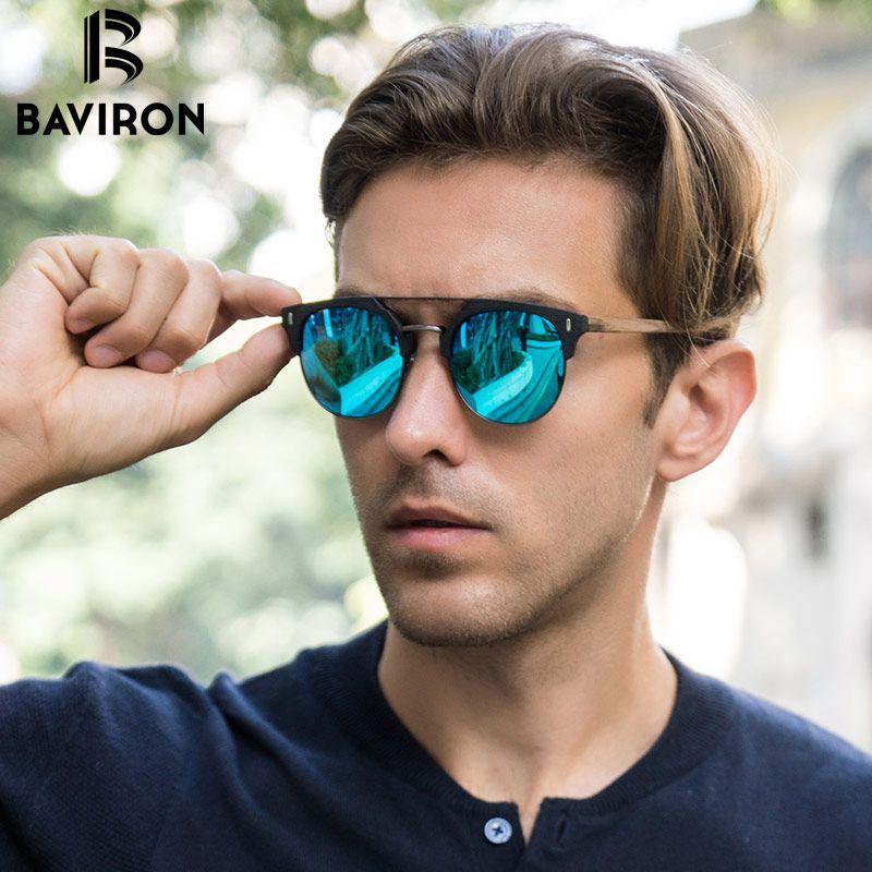 BAVIRON 2018 Similar Wooden Sunglasses Men Polarized Retro Sunglasses Unisex Polarized Wooden Sun Glasses Men with Case Oculos