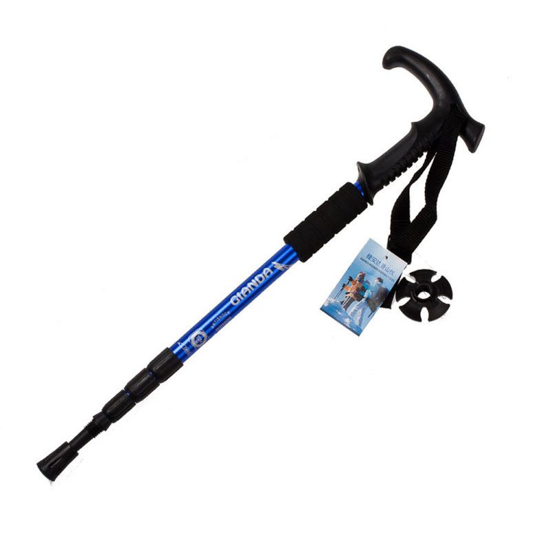 Walking stick Hiking Walking Trekking Trail Poles Ultralight Walking Canes Protector 4-section Adjustable Canes