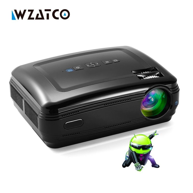 WZATCO New Android 6.0 Smart WiFi 5500Lumens <font><b>Full</b></font> HD 1080P multimedia LED 3D TV Projector proyector beamer for home theater