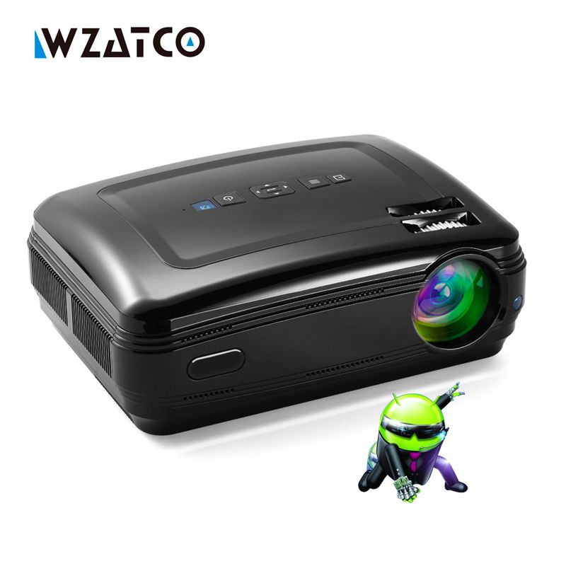 WZATCO New Android 6.0 Smart <font><b>WiFi</b></font> 5500Lumens Full HD 1080P multimedia LED 3D TV Projector proyector beamer for home theater