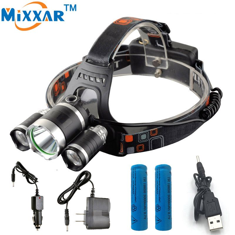 EZK20 3 LED Headlight Cree XM-L T6 13000 Lm Head Lamp High Power LED <font><b>Headlamp</b></font> +2pcs 18650 5000mah battery Charger+car charger
