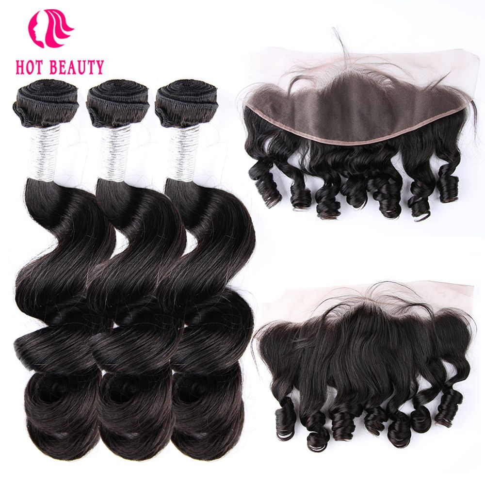Hot Beauty Hair Peruvian Human Hair Loose Wave Weave Bundles With Free Part Pre Plucked 13x4 Lace Frontal Closure Remy Hair 4PCS