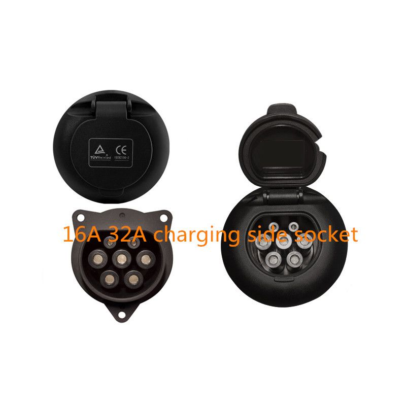 Duosida EVSE EV female socket type 2  16A 32A electric  car Charging charger side 3 Point Fixing