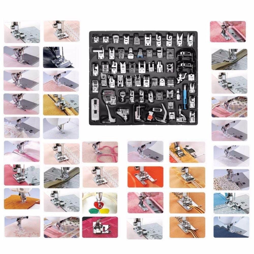 62 stücke Multi-funktionale Heimischen Nähmaschine Presser Füße Set Zubehör Werkzeug für Bruder, Babylock, Sänger, janome, Elna, Toyota