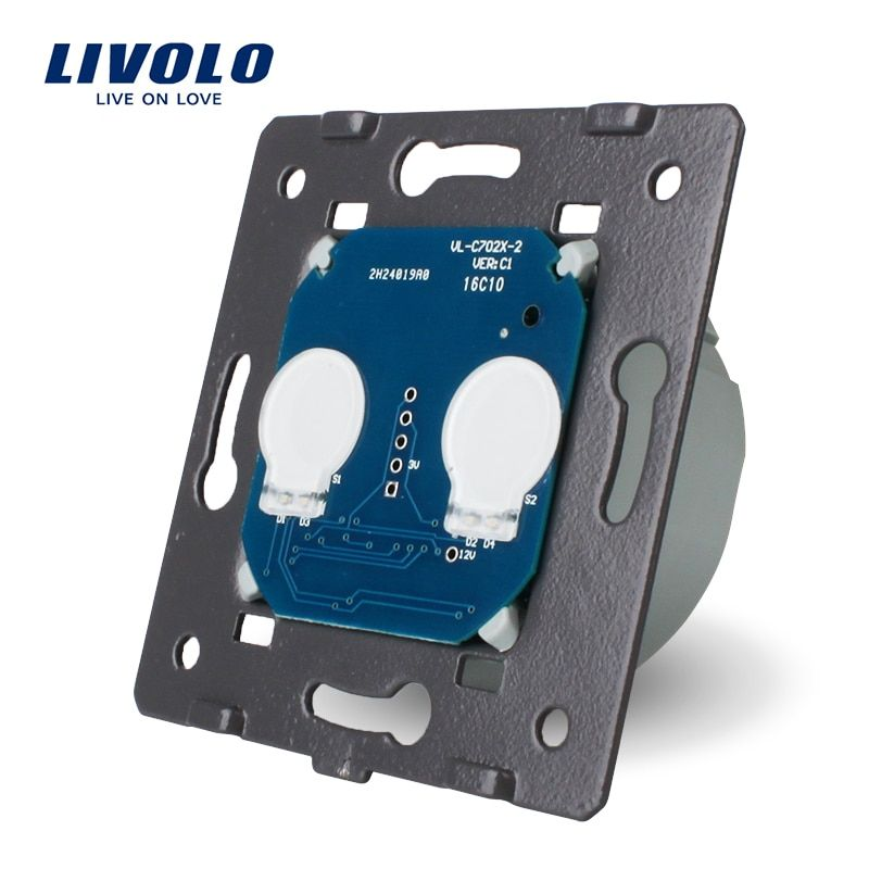 LIVOLO EU Standard, AC 220~250V The Base Of Wall Light Touch <font><b>Screen</b></font> Switch, 2Gang 1Way, VL-C702
