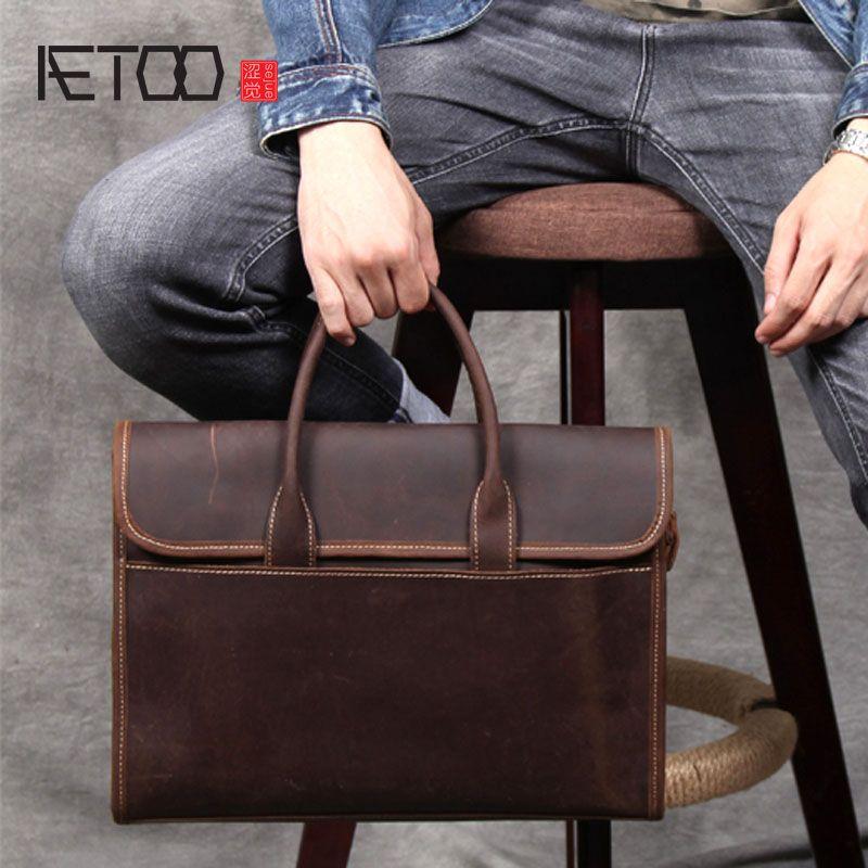 AETOO Retro casual erste schicht leder aktentasche handgemachte original leder handtasche männliche schulter Messenger tasche computer tasche